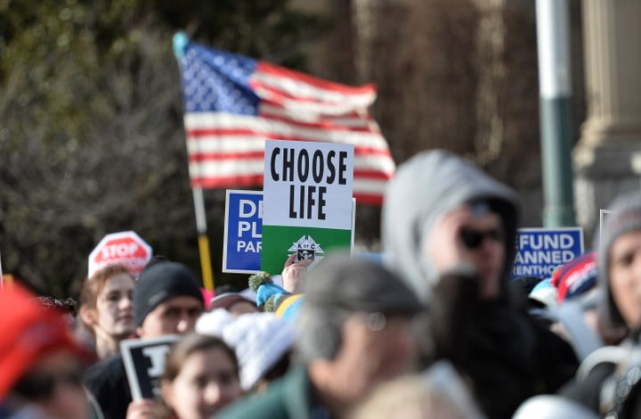 Anti-abortion protesters march in Washington, D.C.,at the annual March for Life in January. Official government languag
