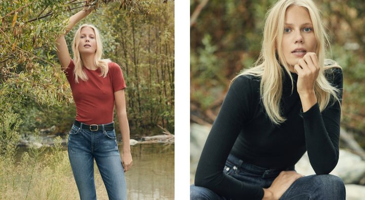 """Left: Camille High Cigarette Jean in tigris, <a href=""""https://www.thereformation.com/refjeans"""" target=""""_blank"""">$118 at Reform"""