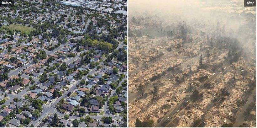 An area the size of a football field in the  neighborhood of Coffey Park in Santa Rosa, Calif., was vaporized in seconds duri