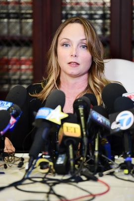 LOS ANGELES, CA - OCTOBER 10:  Attorney Gloria Allred's client Louisette Geiss speak during a press conference about her allegations of sexual harassment by Harvey Weinstein at Allred�s office October 10, 2017 in Los Angeles, California.  Weinstein has been accused of sexual harassment by multiple women.  (Photo by Emma McIntyre/Getty Images)