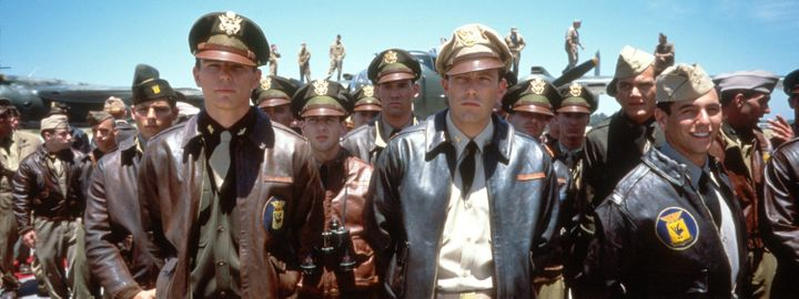 "Josh Hartnett, left, and Ben Affleck, center, as pilots Danny Walker and Rafe McCawley in ""Pearl Harbor."""