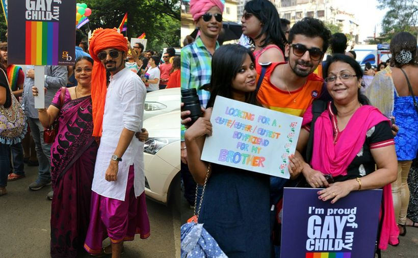 Gay Indian actor-director Nakshatra Bagwe with his mother at Pune's LGBTQ Pride (left) and with his mother and sister at Mumb