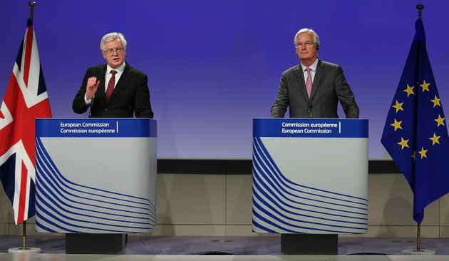 David Davis (L) and Chief negotiator for the European Union, Michel Barnier (R) hold a joint press conference...