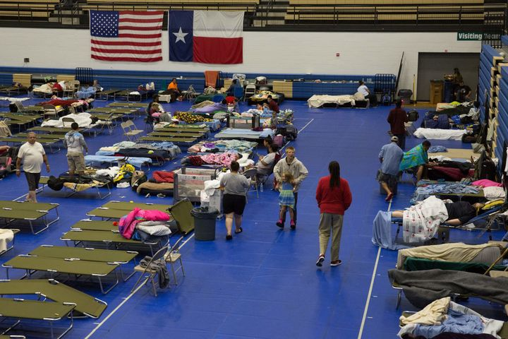 Evacuees from Hurricane Harvey are seen in Austin, Texas. Inmates in the Lone Star State donated more than $53,000 towards th