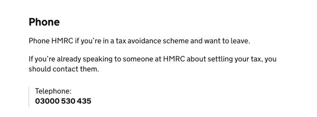 'Phone HMRC if you're in a tax avoidance scheme and want to leave,' the government's website