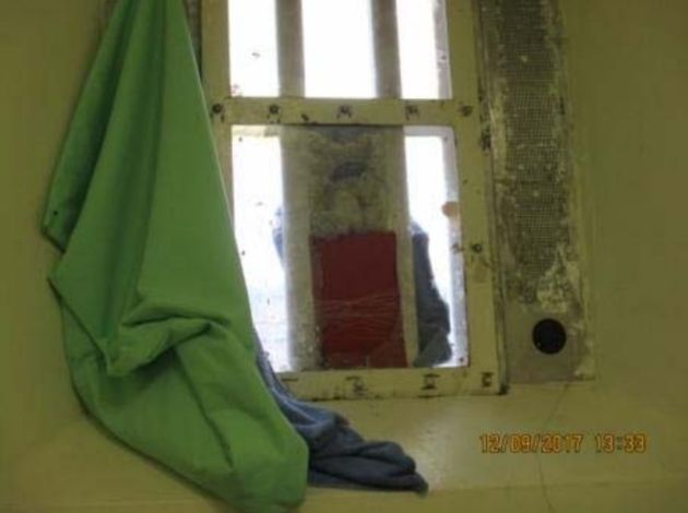 A smashed window leaves inmates exposed to the cold at HMP