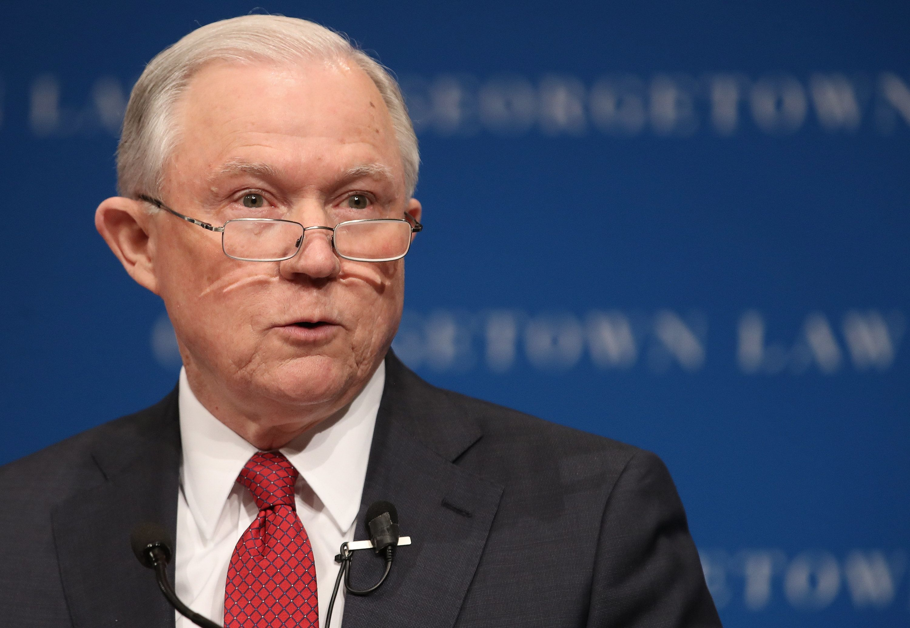WASHINGTON, DC - SEPTEMBER 26:  U.S. Attorney General Jeff Sessions speaks at the Georgetown University Law Center September 26, 2017 in Washington, DC. Sessions spoke on the topic of free speech on college campuses and took several questions following his remarks.  (Photo by Win McNamee/Getty Images)