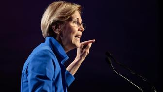 Senator Elizabeth Warren (D-MA) addresses the audience at the morning plenary session at the Netroots Nation conference for political progressives in Atlanta, Georgia, U.S. August 12, 2017. REUTERS/Christopher Aluka Berry