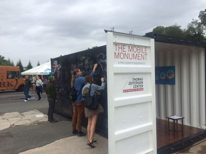 "<a href=""http://tjcenter.org/free-speech-monuments/"" target=""_blank"">The Mobile Monument Project</a>&nbsp;is a roving installation that began&nbsp;in&nbsp;2015. The&nbsp;shipping container's outside is a chalkboard on which participants&nbsp;can express themselves freely. The inside is an evolving gallery of First Amendment history, which is updated to incorporate specific cases relevant to each of the mobile monument's destinations and audiences."