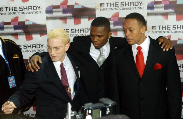 """With Dr. Dre and 50 Cent At the launch of Sirius radio channel """"Shade 45"""" in New York, New York."""