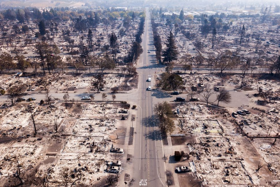 Fire damage is seen from the air in the Coffey Park neighborhood of Santa Rosa on Oct. 11, 2017.