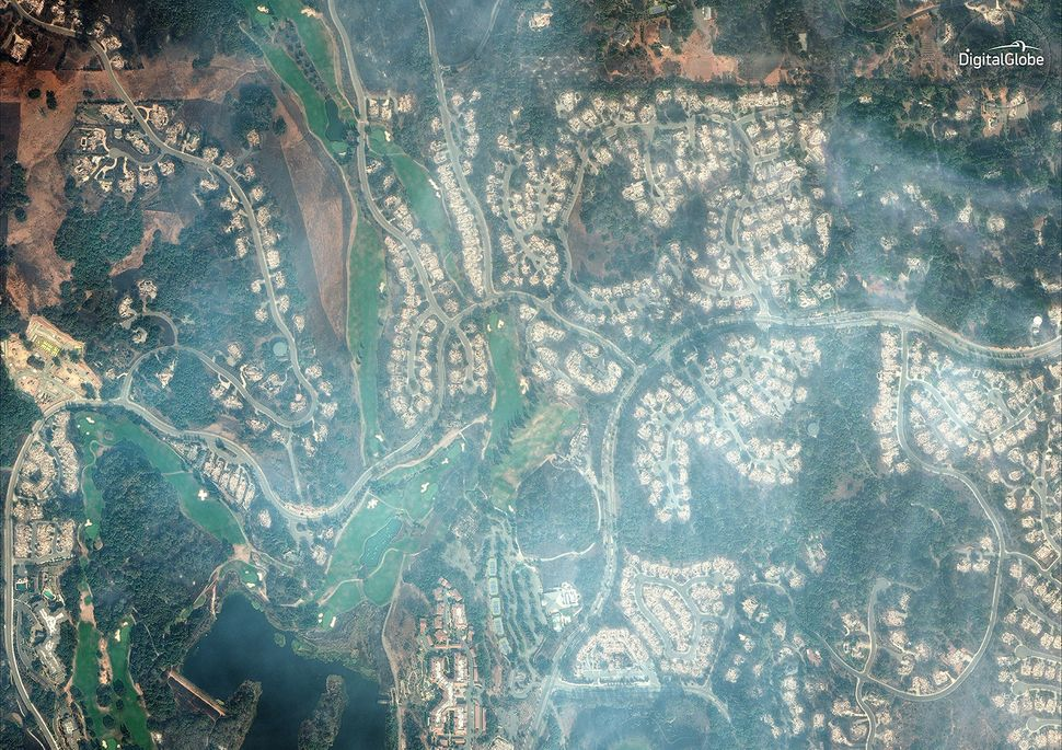 A natural-color satellite image of the burned Fountaingrove Golf Club in Santa Rosa, a city in Sonoma Cou