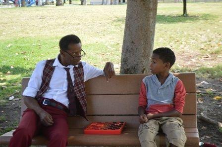 "Scene from ""Twinkies & Root Beer""  lead actors Isiah Greene (r) and Phillip E. Walker (l)"