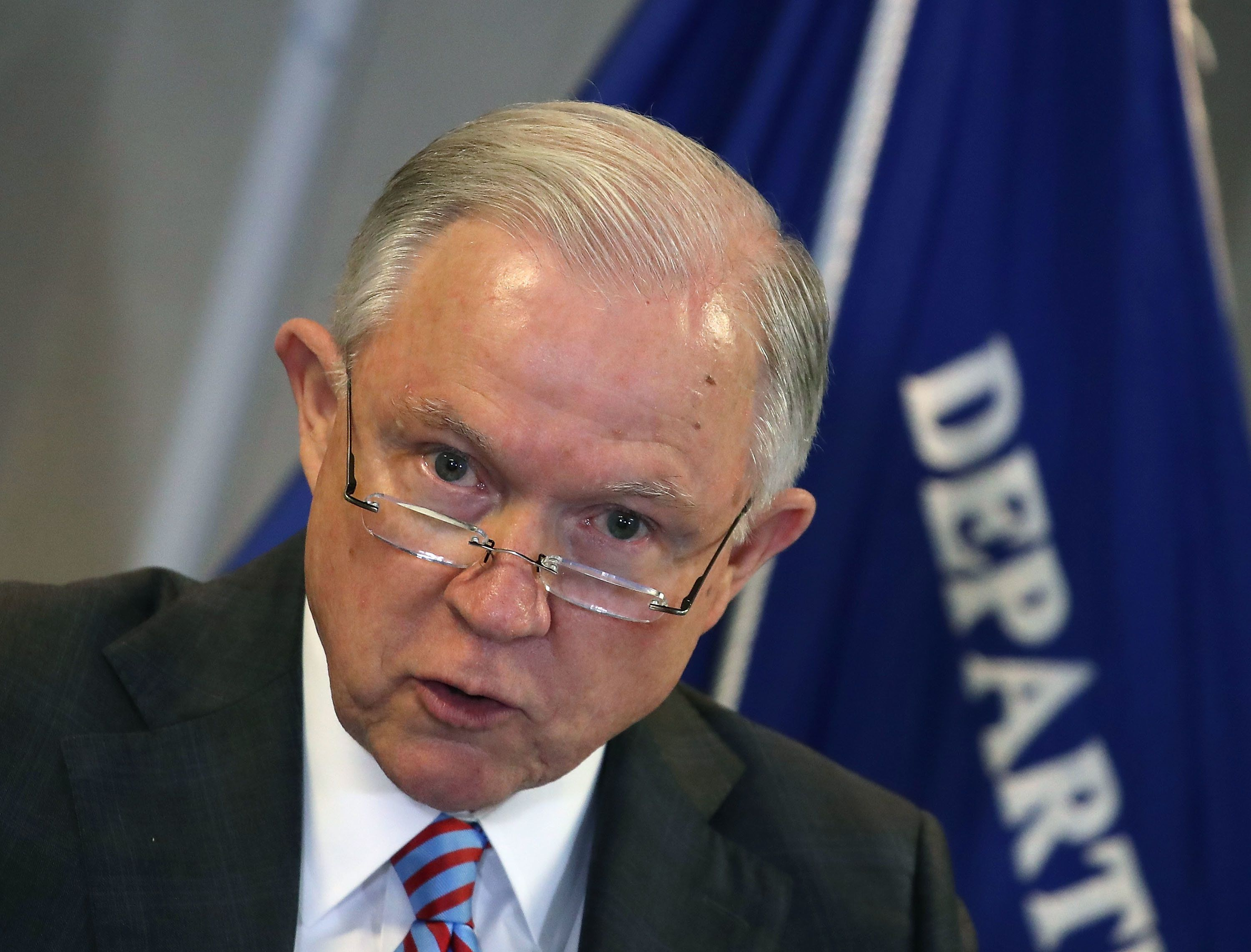 Attorney General Jeff Sessions delivers a speech on the asylum system at the Executive Office for Immigration Review.&nb