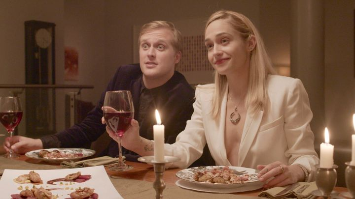 John Early (left) and Jemima Kirke are two guest stars who pop up on the black comedy series.