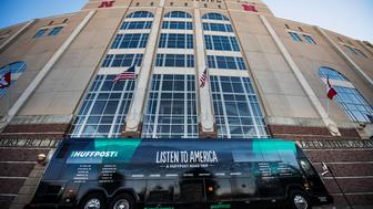 "LINCOLN, NE- OCTOBER 11: The HuffPost tour bus sits in front of the Memorial Stadium during HuffPost's visit to Lincoln, Nebraska, on Oct. 11, 2017, as part of ""Listen To America: A HuffPost Road Trip."" The outlet will visit more than 20 cities on its tour across the country. (Photo by Damon Dahlen/HuffPost) *** Local Caption ***"