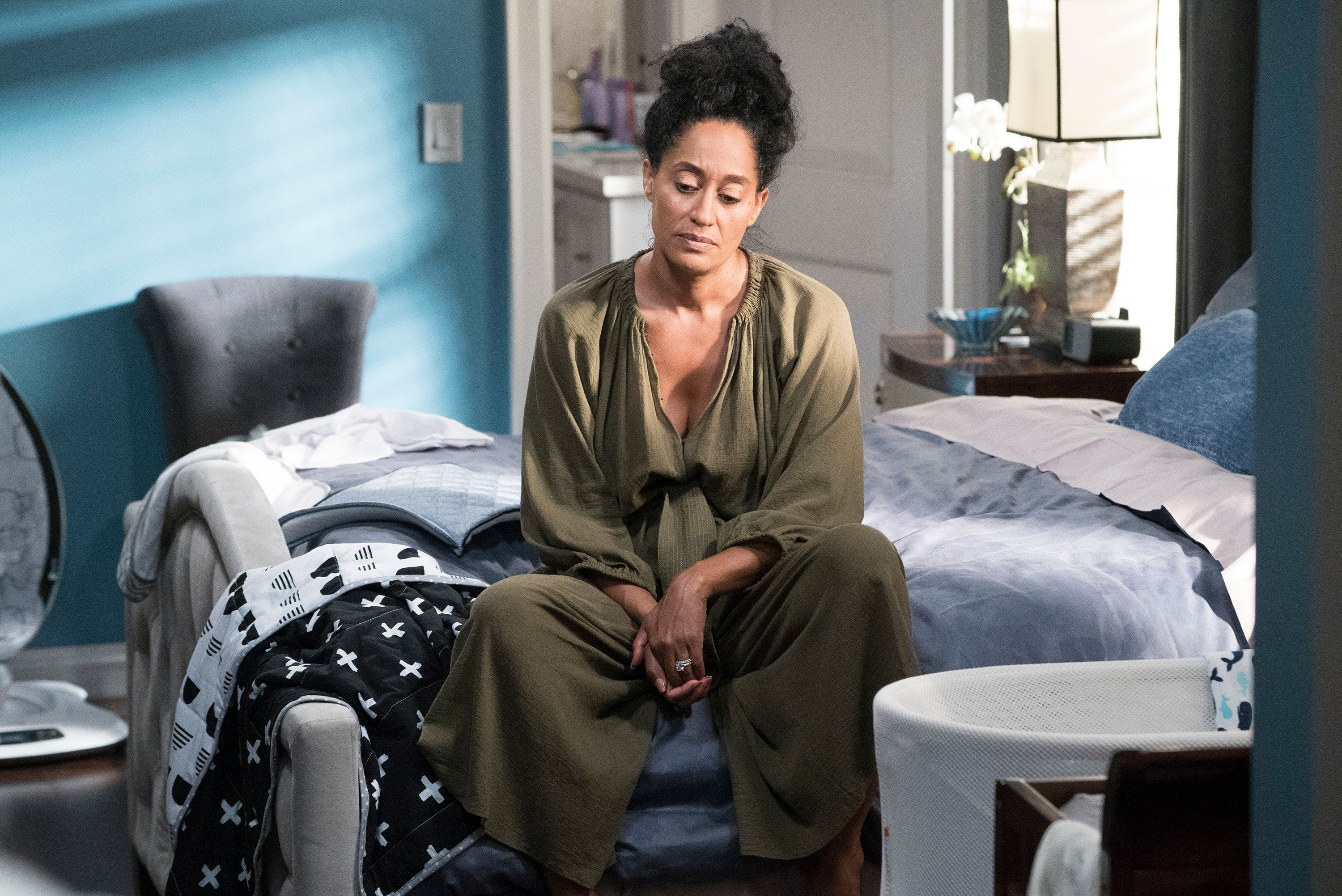BLACK-ISH - 'Mother Nature' - Bow is feeling overwhelmed after the birth of DeVante and learns she is suffering from postpartum depression. Dre urges her to get help and stands by her side while she works through it. Meanwhile, the kids babyproof the house in an effort to help their parents out, on 'black-ish,' TUESDAY, OCTOBER 10 (9:00-9:30 p.m. EDT), on The ABC Television Network. (Eric McCandless/ABC via Getty Images) TRACEE ELLIS ROSS