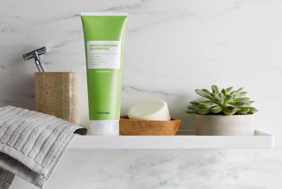 "Get the <a href=""https://brandless.com/products/moisturizing-shampoo"" target=""_blank"">Brandless Green Tea & Aloe moisturi"