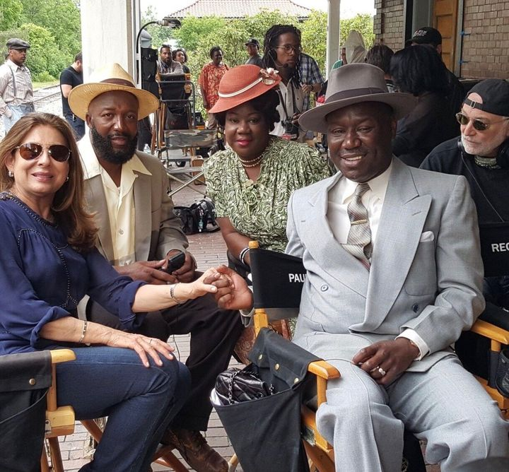 Benjamin Crump with Sybrina Fulton and Tracy Martin on the set of 'Marshal'