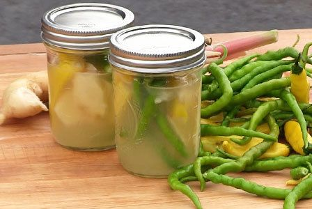 Indian lemon ginger pickled chillies