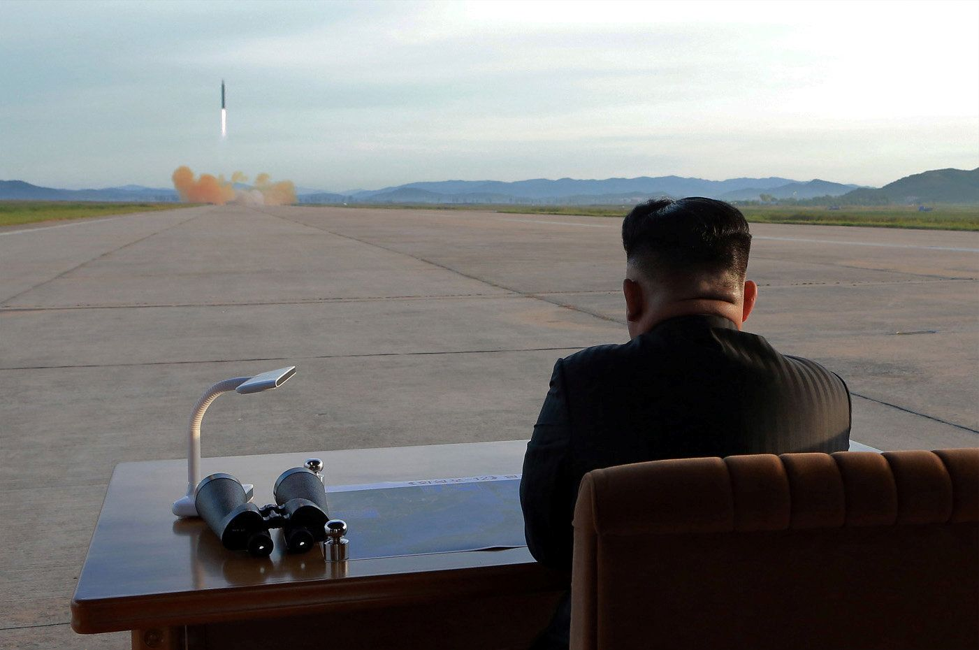 North Korean leader Kim Jong Un watches the launch of a Hwasong-12 missile in this undated photo released by North Korea's Korean Central News Agency (KCNA) on September 16, 2017. KCNA via REUTERS   ATTENTION EDITORS - THIS PICTURE WAS PROVIDED BY A THIRD PARTY. REUTERS IS UNABLE TO INDEPENDENTLY VERIFY THE AUTHENTICITY, CONTENT, LOCATION OR DATE OF THIS IMAGE. NO THIRD PARTY SALES. SOUTH KOREA OUT.