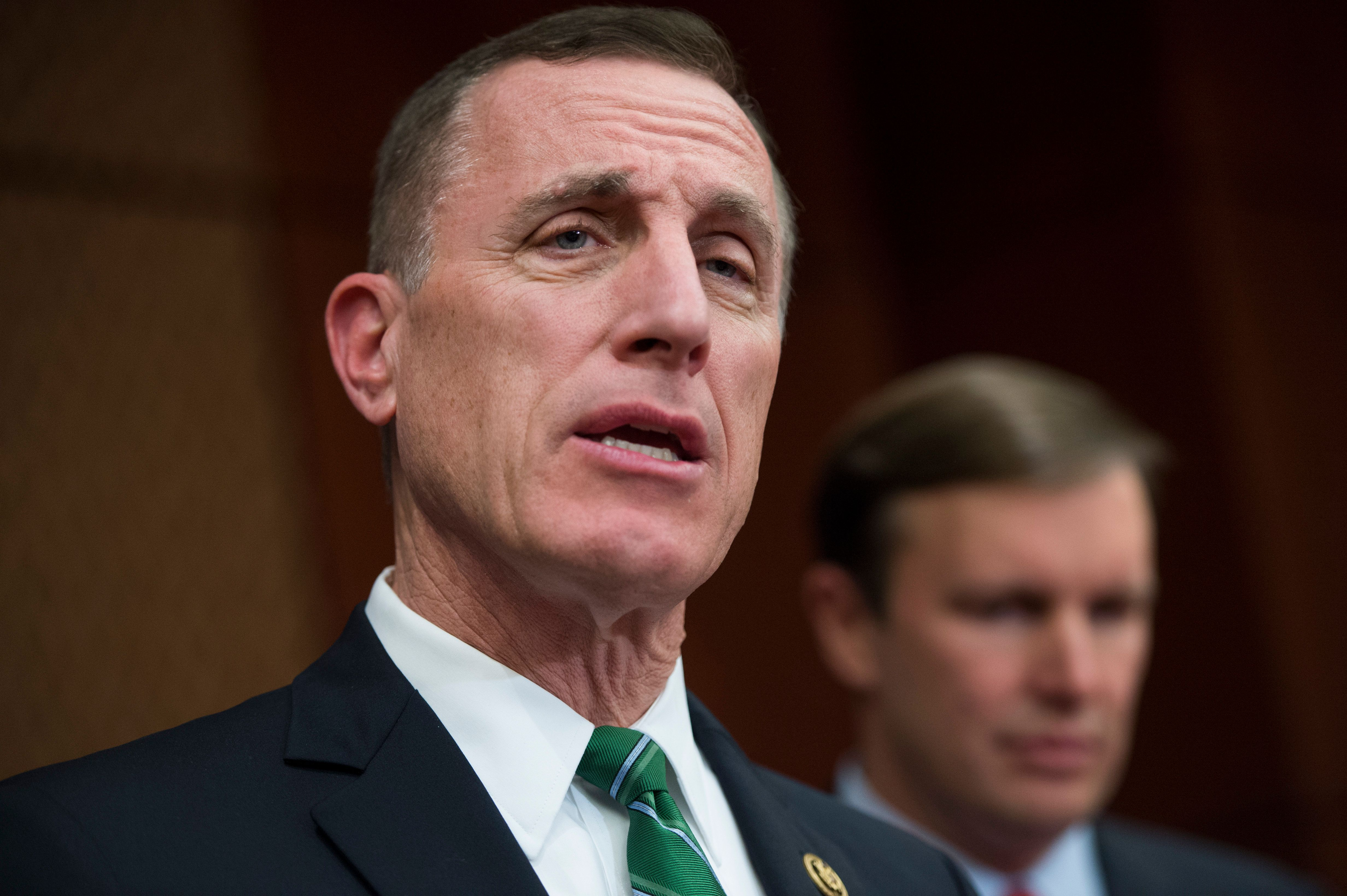 UNITED STATES - DECEMBER 05: Rep. Tim Murphy, R-Pa., left, and Sen. Chris Murphy, D-Conn., attend a news conference in the Capitol Visitor Center to call on the Senate to pass mental health reform legislation, December 05, 2016. (Photo By Tom Williams/CQ Roll Call)