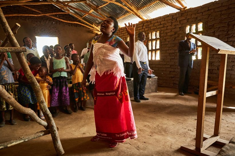 Jennifer sings during a Sunday morning service at Well of Life Church, Luchenza, southern Malawi, 2017.