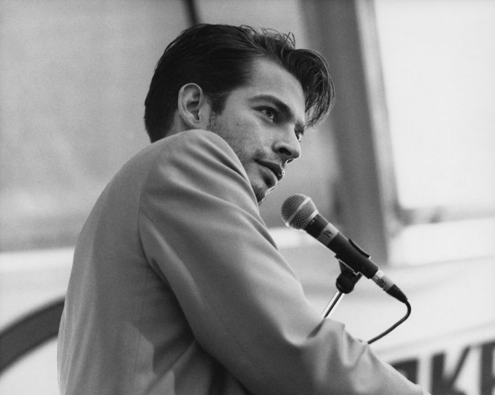 Harry Connick Jr. onstage during a live concert performance at the New Orleans Jazz and Heritage Festival in May 1990.