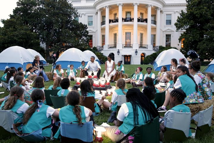 Girl Scouts camped out on the South Lawn of the White House in 2015.