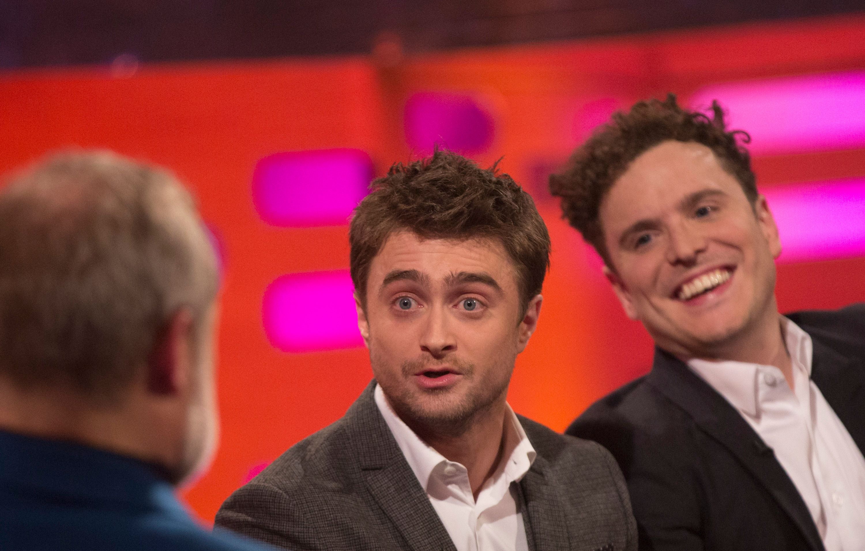 (left to right) Host Graham Norton, Daniel Radcliffe and Joshua McGuire during filming of the Graham Norton Show at The London Studios, to be aired on BBC One on Friday February 17, 2017. (Photo by Isabel Infantes/PA Images via Getty Images)