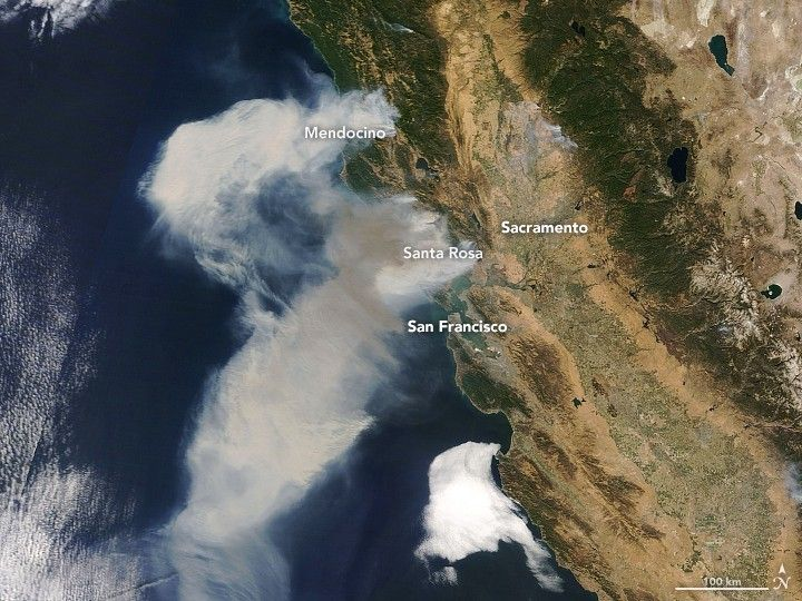 California wildfires as viewed from space, October 11, 2017