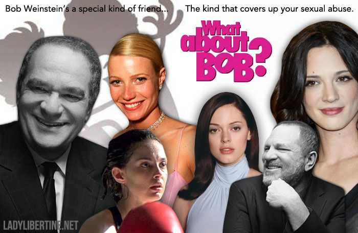 Parody of the <em>What About Bob? </em>movie poster, feat. the Weinstein brothers and four of Harvey's alleged victims: actre