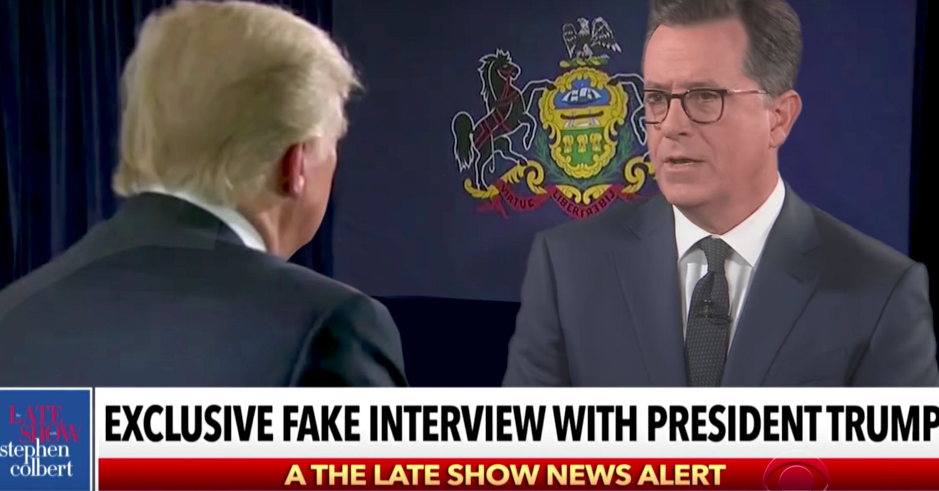 Colbert Delivers Hardest Hitting Fake Interview With President Trump