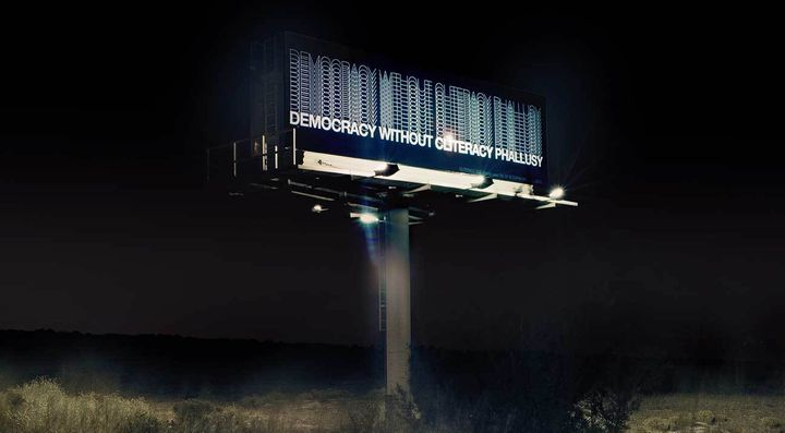 """<p>The billboard was on view in November on I-25 Southbound near mile marker 247.2. I was pleased by the range of comments we received from the billboard exhibition, such as """"What are you trying to sell?"""" and """"How do I explain this to my son?"""" </p>"""