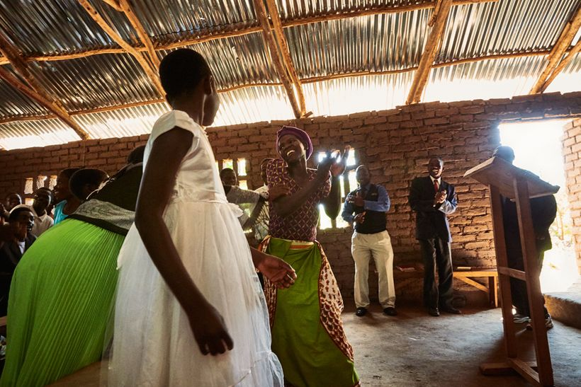 Churchgoers sing and dance during a Sunday morning service at Well of Life Church, Luchenza, southern Malawi, 2017.