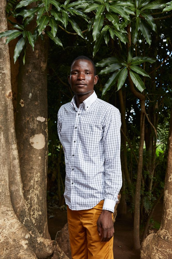 Elias Jamson poses outside the Well Of Life Church. Luchenza, southern Malawi, 2017.