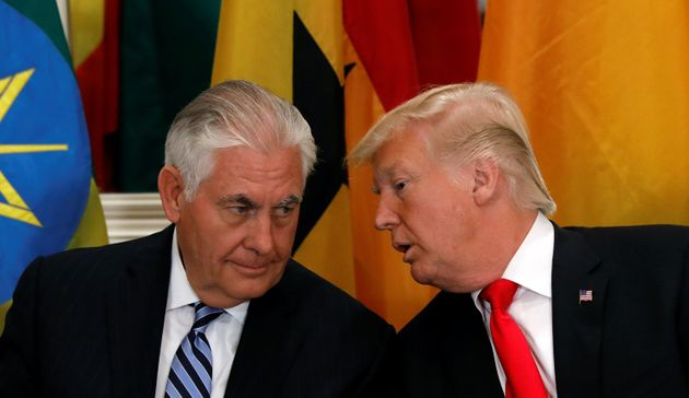 Rex Tillerson (left) and Donald Trump (right) in