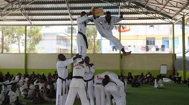 <em>Taekwondo a Korean martial art  also practiced in Kenya.</em>