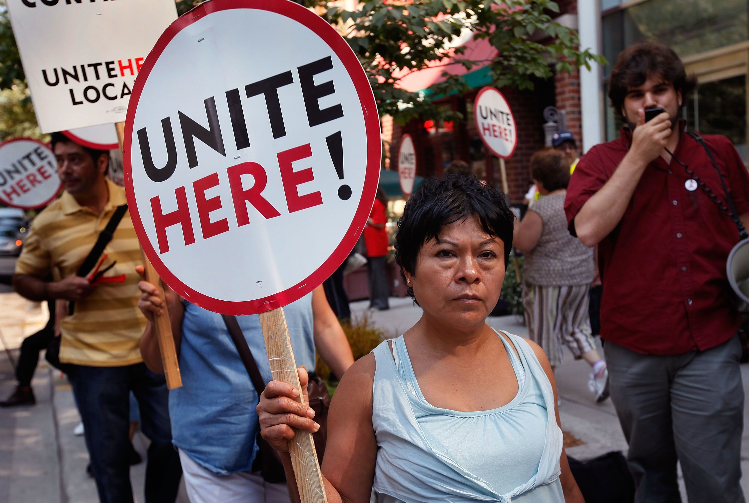 The hospitality workers union Unite Here has planned protests in 40 cities for Oct. 19.