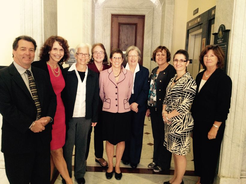 The MA Breast Density Coalition at the MA Legislature in Boston after testifying at the Public Hearing.  Ellen's husband, Dam