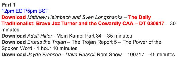 The show's afternoon schedule for