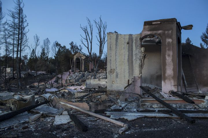 The ruins of houses destroyed by the Tubbs Fire are seen near Fountaingrove Parkway on October 14, 2017 in Santa Rosa, Califo