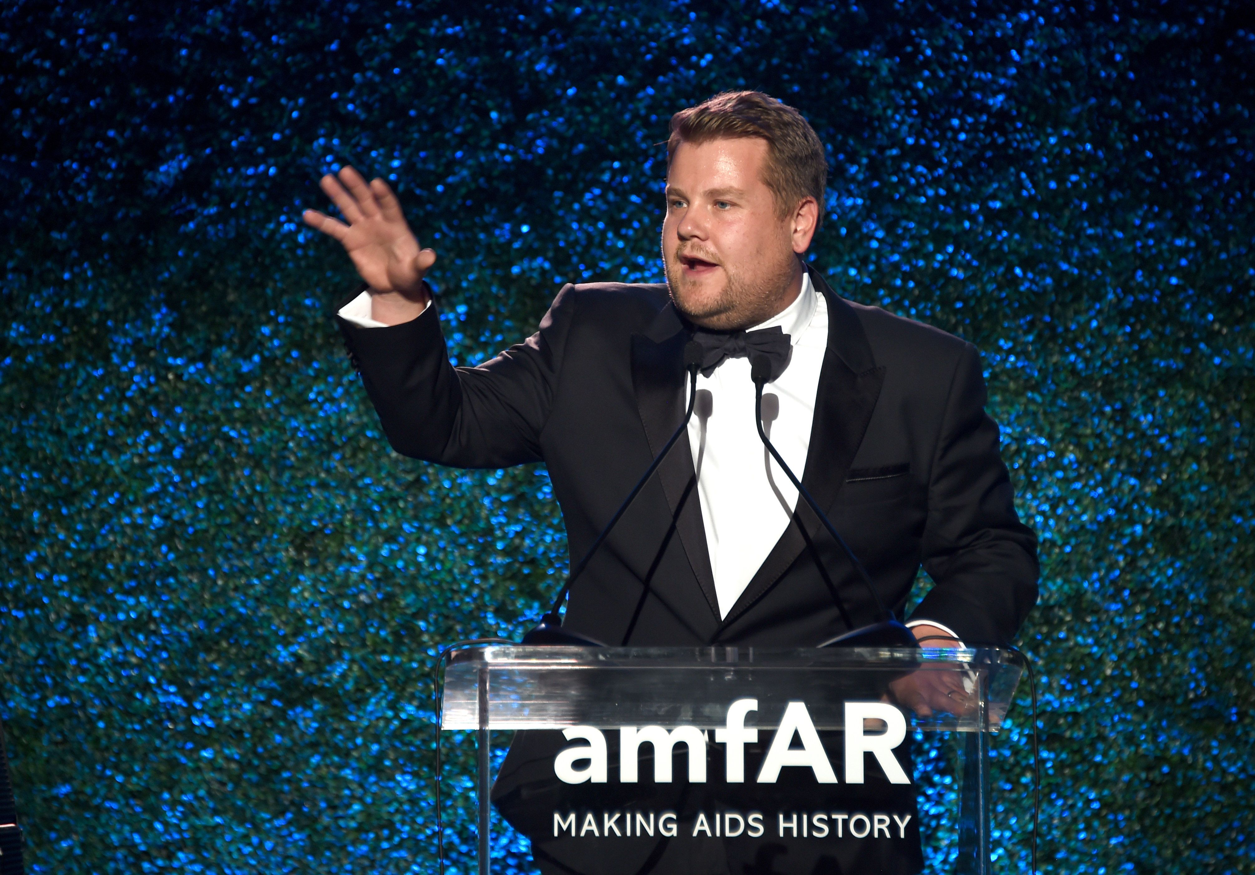AmfAR Gala Emcee James Corden Scalds Harvey Weinstein With Hot Water Joke