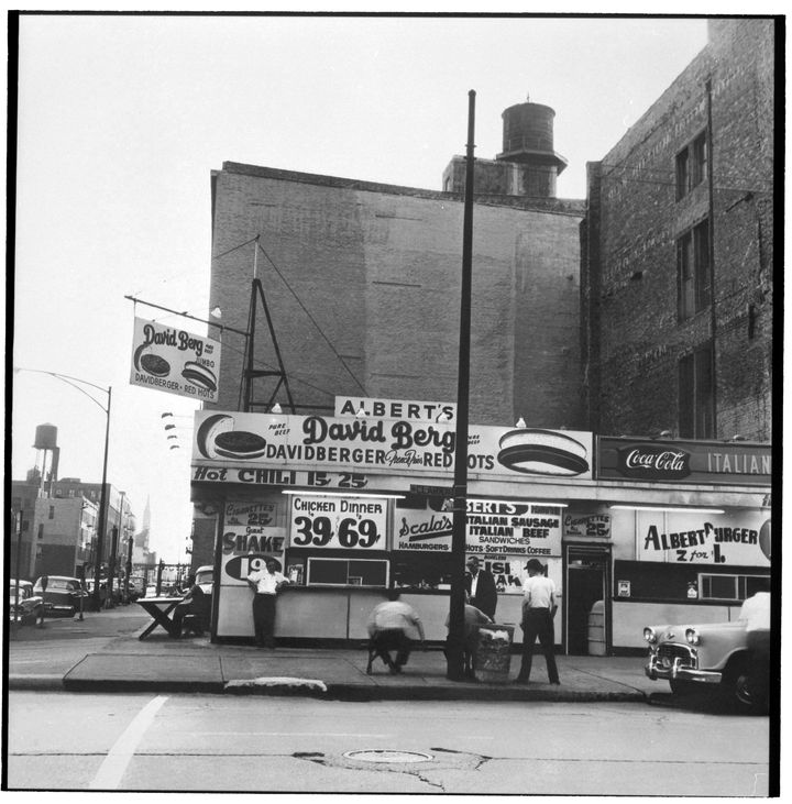<p>500 N. Clark St. at Illinois where restaurant Naha sits today. In 1970 at age 21, Albert Friedman inherited the hot dog stand in addition to the rooming house a block south.</p>