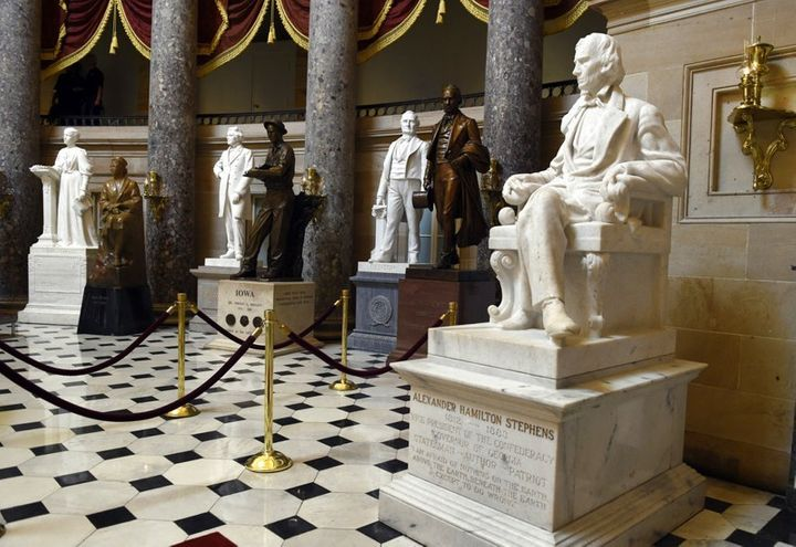Statue of Alexander H. Stephens (r) in the United States Capitol building.