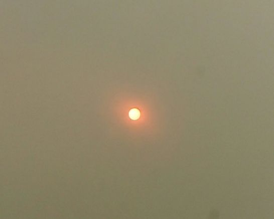 The red sun is a result of Saharan dust being dragged over to the UK by Hurricane