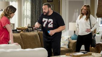 NEW YORK - AUGUST 11:'Civil Ceremony' -- Kendra and Chale must get married immediately when the Gables learn that he is about to be deported.  As Kevin chases down Father Phillip (Jim Breuer), Vanessa helps Kendra put together the last-minute affair, on the second season premiere of KEVIN CAN WAIT, Monday, Sept. 25 (9:00-9:30, ET/PT) on the CBS Television Network. Leah Remini joins the cast as Vanessa Cellucci. Pictured: Taylor Spreitler, Kevin James, Leah Remini.  (Photo by Jeffrey Neira/CBS via Getty Images)