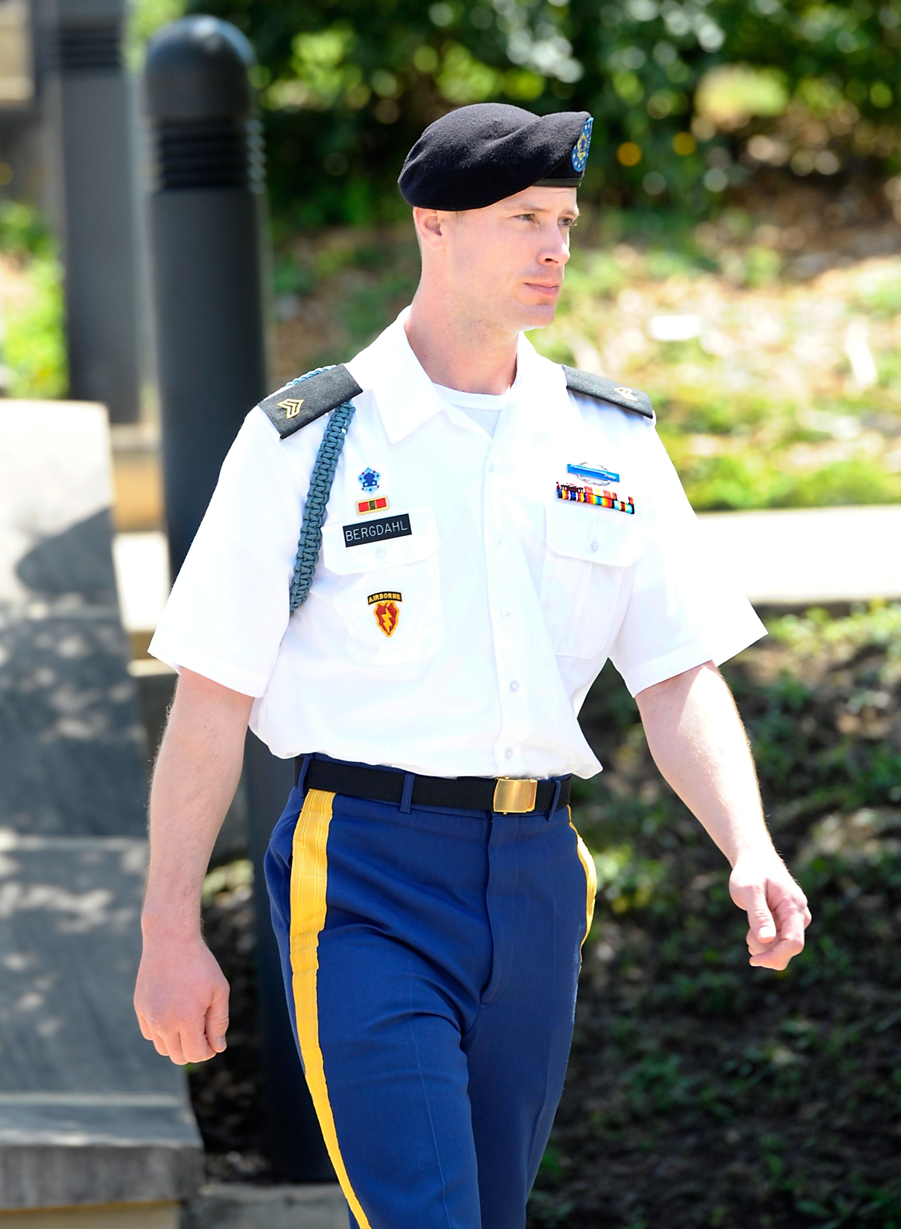 FT. BRAGG, NC - JULY 7:  U.S. Army Sgt. Robert Bowdrie 'Bowe' Bergdahl (right), 30 of Hailey, Idaho, leaves the Ft. Bragg military courthouse during a recess in a pretrial military hearing on July 7, 2016 in Ft. Bragg, North Carolina. Bergdahl faces charges of desertion and endangering troops stemming from his decision to leave his outpost in 2009, which landed him five years in Taliban captivity.  (Photo by Sara D. Davis/Getty Images)