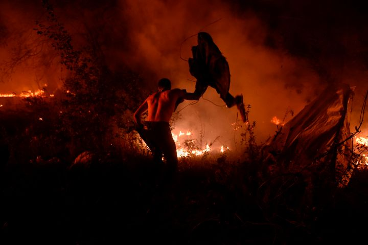 A man attempts to subdue wildfire flames in Vigo, northwestern Spain, October 15, 2017.