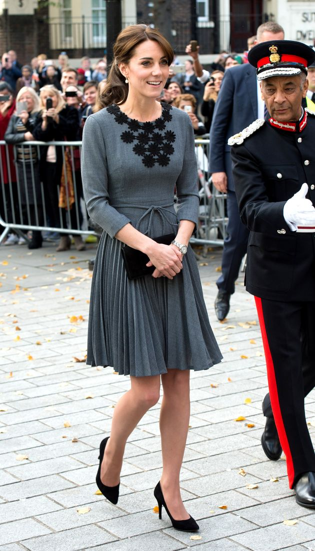 Catherine, Duchess of Cambridge, wearing an Orla Kiely dress, visits Chance UK at Islington Town